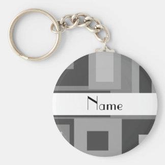Retro gray squares personalized name basic round button key ring