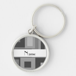 Retro gray squares personalized name Silver-Colored round key ring