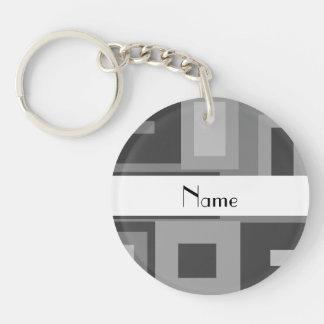 Retro gray squares personalized name Single-Sided round acrylic key ring