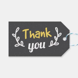 Retro Gray & Yellow Laurel Thank You Wedding Gift Tags