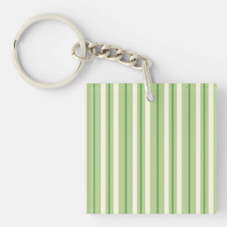 Retro Green and Cream Awning Stripes Square Acrylic Keychains