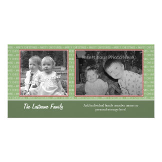 Retro Green and Red with 2 photos - horizontal Card