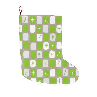 Retro Green and White Starburst Christmas Stocking