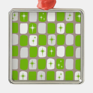 Retro Green and White Starburst Square Ornament