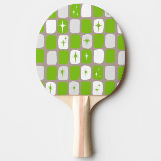 Retro Green and White Starbursts Ping Pong Paddle
