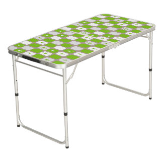 Retro Green and White Starbursts Pong Table