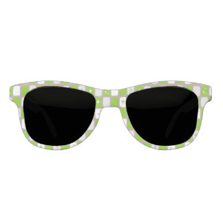 Retro Green and White Starbursts Sunglasses