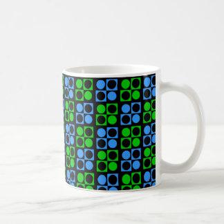 Retro Green Blue Circle Squares on Black Mug