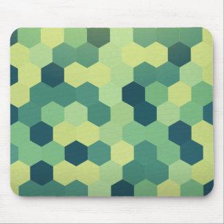 Retro Green Blue Yellow Hexagon Pattern Mouse Pad