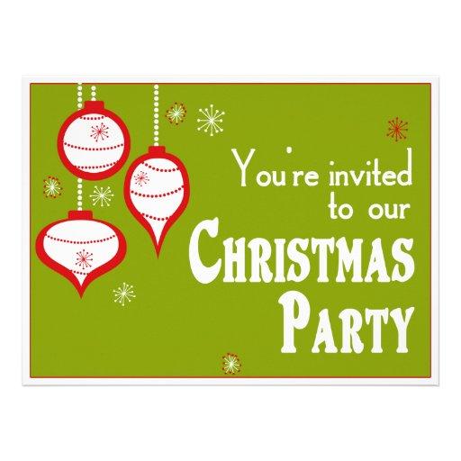 Retro Green Christmas Invitations