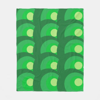 Retro Green Circles Fleece Blanket