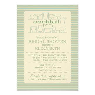 Retro Green Cocktail Party Bridal shower 13 Cm X 18 Cm Invitation Card
