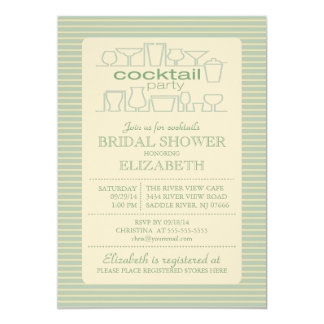 Retro Green Cocktail Party Bridal shower Announcement