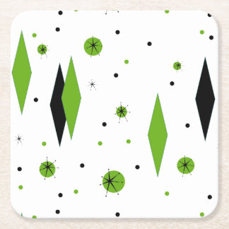 Retro Green Diamond & Starburst Hard Paper Coaster