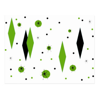 Retro Green Diamonds and Starbursts Postcard