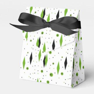 Retro Green Diamonds & Starbursts Favor Box Wedding Favour Boxes
