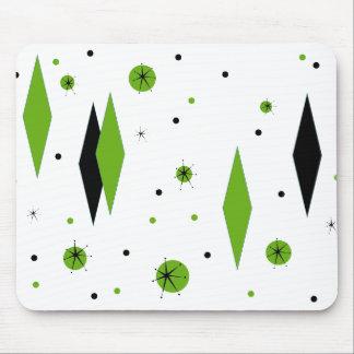 Retro Green Diamonds & Starbursts Mousepad