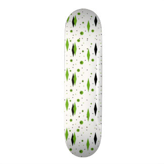 Retro Green Diamonds & Starbursts Skateboard