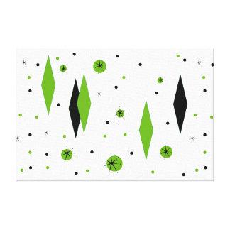 Retro Green Diamonds & Starbursts Stretched Canvas Canvas Print