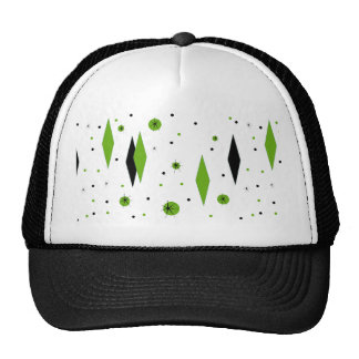 Retro Green Diamonds & Starbursts Trucker Hat