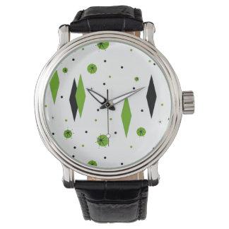 Retro Green Diamonds & Starbursts Watch
