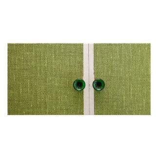 Retro green doors picture card