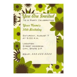 Retro Green Flowers Party Invitation