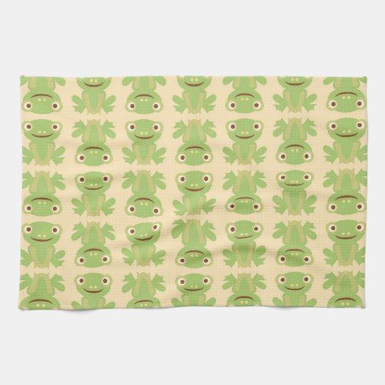 Retro Green Frog Pattern Tea Towel
