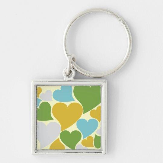 Retro Green Hearts Silver-Colored Square Key Ring