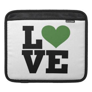Retro Green Love Sleeve For iPads