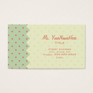 Retro Green & Melon Polka Dot Business Card