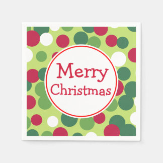 Retro Green Merry Christmas Party Napkins Paper Napkin