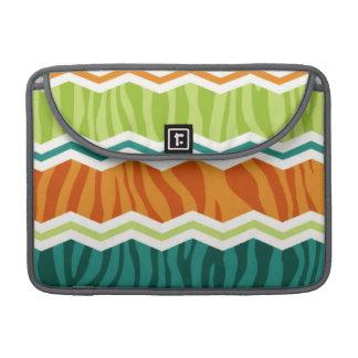 Retro Green, Orange, Teal Zebra Stripes Sleeve For MacBooks