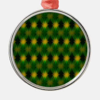 Retro green oval pattern christmas ornament