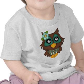 Retro Green Owl Tee Shirt