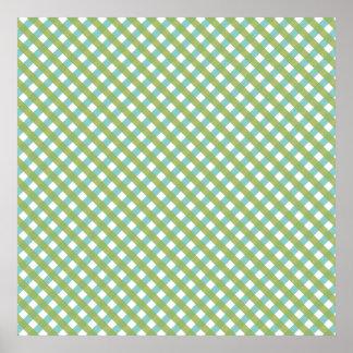 Retro Green Plaid Pattern Poster