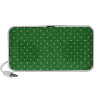 retro green polka dot speakers