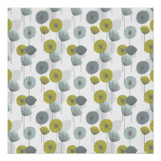 Retro Green Poppies Flowers Pattern Poster