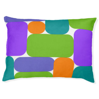 Retro Green, Purple, Blue Geo Abstract Pet Bed