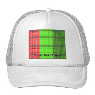 Retro green red transparent plaid mesh hat