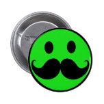 Retro Green Smiley Moustache Moustache Stache 6 Cm Round Badge