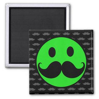 Retro Green Smiley Mustache Moustache Stache Magnet