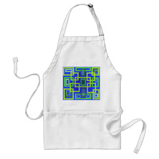 Retro green squares on blue background standard apron