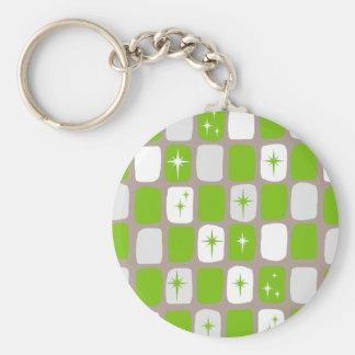 Retro Green Starbursts Button Keychain