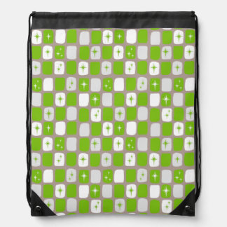 Retro Green Starbursts Drawstring Backpack