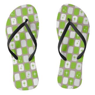 Retro Green Starbursts Flip Flops