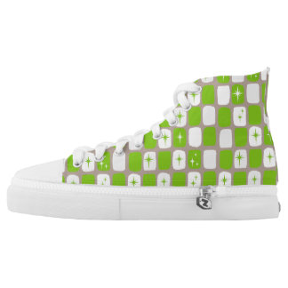 Retro Green Starbursts High Top Shoes