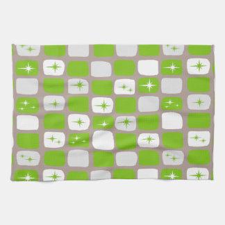 Retro Green Starbursts Kitchen Towel