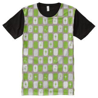 Retro Green Starbursts Panel T-Shirt