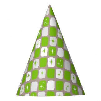 Retro Green Starbursts Party Hat